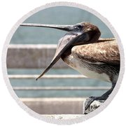 Pelican Yawn - Digital Painting Round Beach Towel