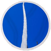 Pelicans And Palm Round Beach Towel