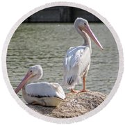 Pelicans By The Pair Round Beach Towel