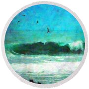 Pelicans Enjoying The Mighty Pacific Impressionism Round Beach Towel