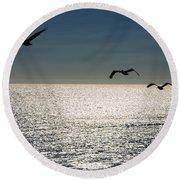Pelicans In Flight Round Beach Towel