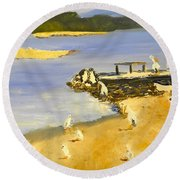 Pelicans On The Shore Round Beach Towel
