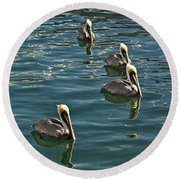 Pelicans On The Water In Key West Round Beach Towel