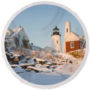 Pemaquid Point Lighthouse Winter In Maine  Round Beach Towel by Keith Webber Jr