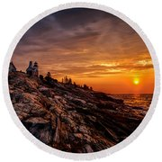 Pemaquid Sunrise  Round Beach Towel by Jerry Fornarotto