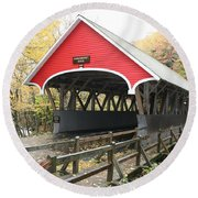 Pemigewasset River Covered Bridge In Fall Round Beach Towel