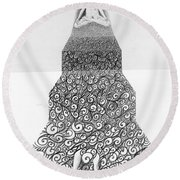 Pen And Ink Staircase Round Beach Towel