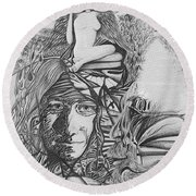 Pen And Ink World 3 Round Beach Towel