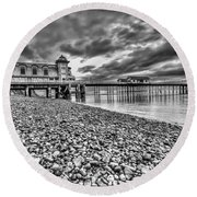 Penarth Pier 2 Mono Round Beach Towel