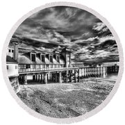 Penarth Pier 6 Monochrome Round Beach Towel