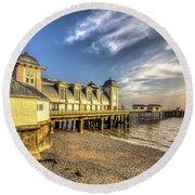 Penarth Pier Dawn 2 Round Beach Towel