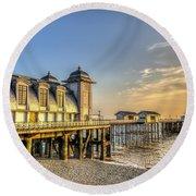 Penarth Pier Dawn Round Beach Towel
