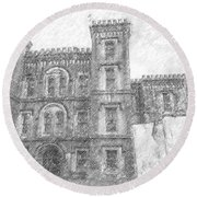 Pencil Drawing Of Old Jail Round Beach Towel