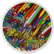 Pencils And Paperclips Round Beach Towel