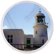 Pendeen Lighthouse Cornwall Round Beach Towel