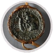 Pendent Wax Seal Of The Council Of Calahorra Round Beach Towel