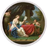 Penelope Reading A Letter From Odysseus Round Beach Towel