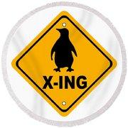 Penguin Crossing Sign Round Beach Towel