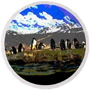 Penguins Line Dance Posterized 2 Round Beach Towel