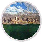 Penguins On Ice Round Beach Towel