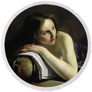 Penitent Magdalen Oil On Canvas Round Beach Towel