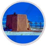 Penitente Morada Christian Church At Abiquiu New Mexico Round Beach Towel
