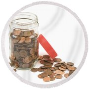 Pennies And Jar On White Background Round Beach Towel