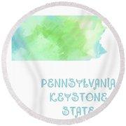 Pennsylvania - Keystone State - Map - State Phrase - Geology Round Beach Towel