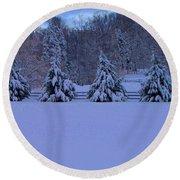 Pennsylvania Snowy Wonderland Round Beach Towel