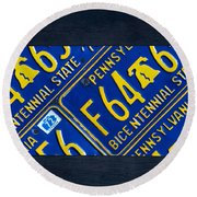 Pennsylvania State License Plate Map Round Beach Towel