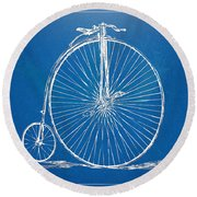 Penny-farthing 1867 High Wheeler Bicycle Blueprint Round Beach Towel