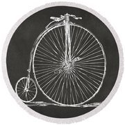 Penny-farthing 1867 High Wheeler Bicycle Patent - Gray Round Beach Towel