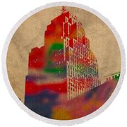 Penobscot Building Iconic Buildings Of Detroit Watercolor On Worn Canvas Series Number 5 Round Beach Towel by Design Turnpike