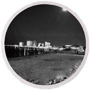 Pensacola Beach At Night Round Beach Towel
