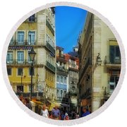 Pensao Geres - Lisbon 2 Round Beach Towel by Mary Machare