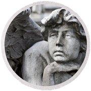 Pensive Angel Detail Monumental Cemetery Milan Italy Round Beach Towel