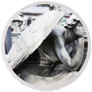 Pensive Angel Monumental Cemetery Milan Italy Round Beach Towel