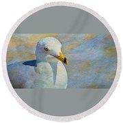Pensive Seagull Round Beach Towel
