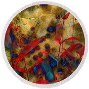 Penstemon Abstract 2 Round Beach Towel