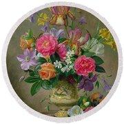 Peonies And Irises In A Ceramic Vase Round Beach Towel