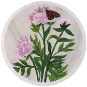 Peonies And Monarch Butterfly Round Beach Towel