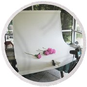 Peonies And Paper Backdrop Round Beach Towel