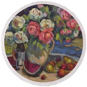 Peonies And Summer Fruit Round Beach Towel