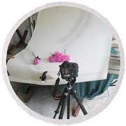 Peonies And Tripod Round Beach Towel