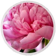 Peonies In The Pink Round Beach Towel