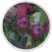 Peonies In The Shade Round Beach Towel