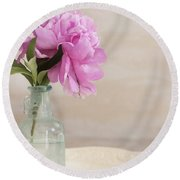 Peony And Blue Bottle Round Beach Towel