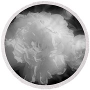 Peony Flower Phases Black And White Contrast Round Beach Towel