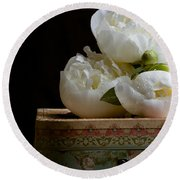 Peony Flowers On Old Hat Box Round Beach Towel