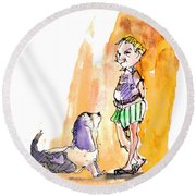 People And Their Dogs 01 Round Beach Towel
